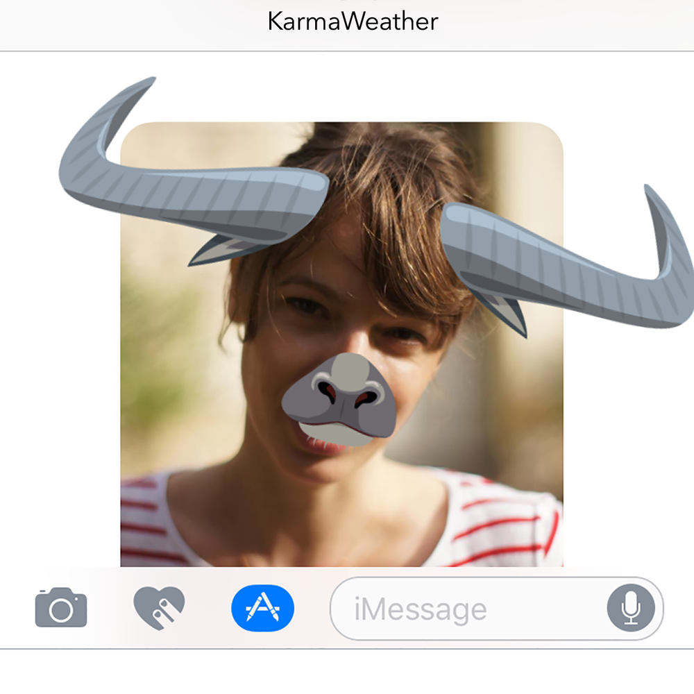 With the latest version of the  free application for iPhone KarmaWeather  also use our new feature for iMessage: KarmaWeather face filters of the 12 animals of the Chinese zodiac. Ideal to surprise your friends with customized selfies!