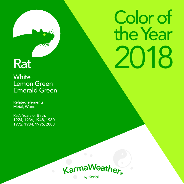3c679a606 Chinese zodiac Rat's colors of the Year 2018: White, Lemon Green, Emerald  Green