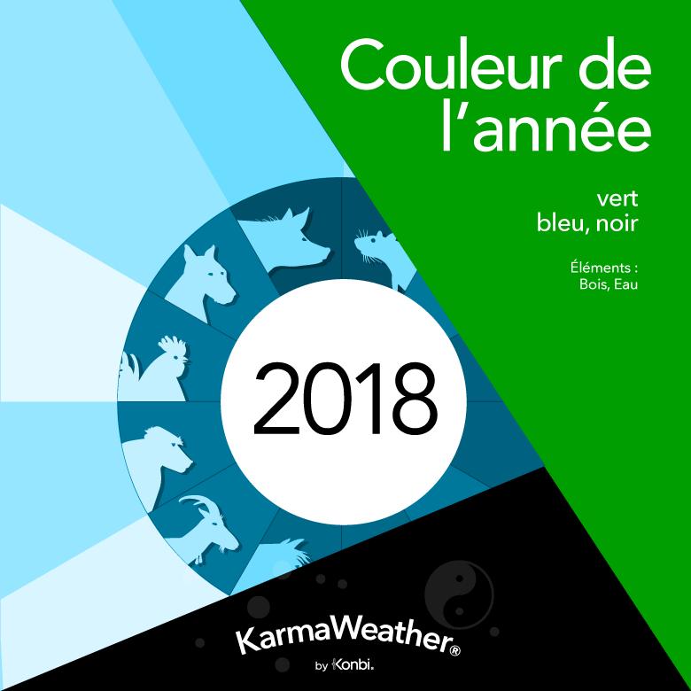 Les couleurs de l'année 2018 en lien avec le Feng Shui et l'horoscope chinois sont:  vert ,  bleu ,  noir