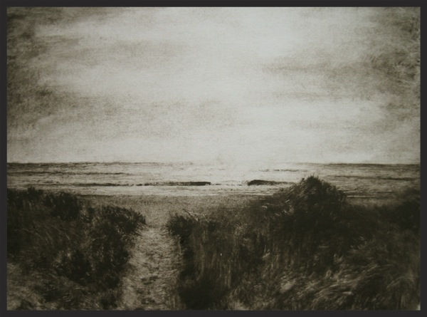 """East Hampton Beach Path"", 2012.  Monotype Print, 1 of 1."