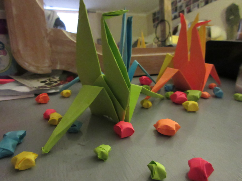 Origami swans and stars