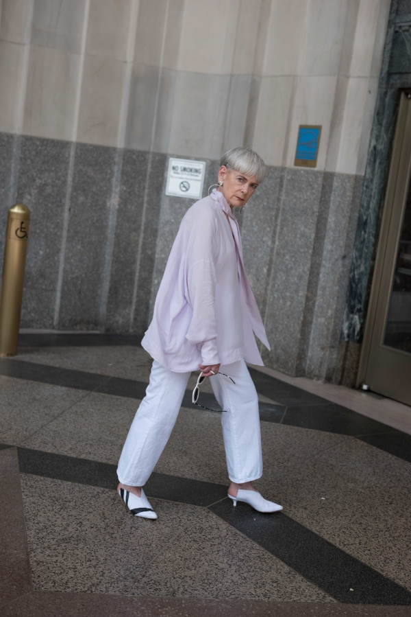Shirt: Mango, Jeans: Jbrand, Shoes: Tibi, Earrings: Dinosaur Designs, Sunglasses: Ferragamo