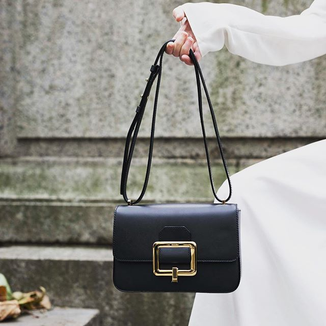 Buckle on a bag and bow on a dress...details are everything #ballyjanelle #ballycollective #bag #blackandwhite #luxury #dress