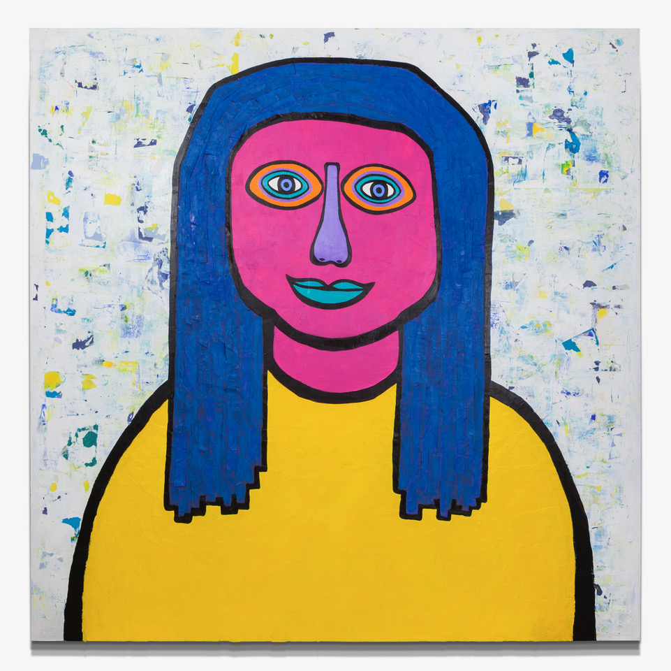"WomanWoman Transcending Paper, Acrylic, Molding Paste on Wood Panel 60"" x 60"""
