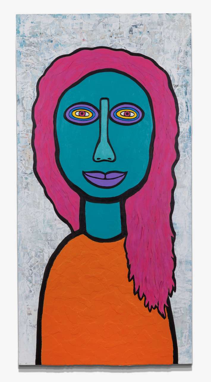 """WomanGirl Believing Acrylic, Paper on Wood 24"""" x 48"""""""