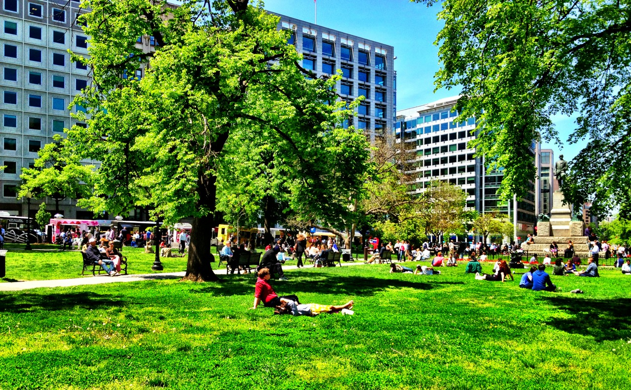 130426, beautiful day, Farragut Square.