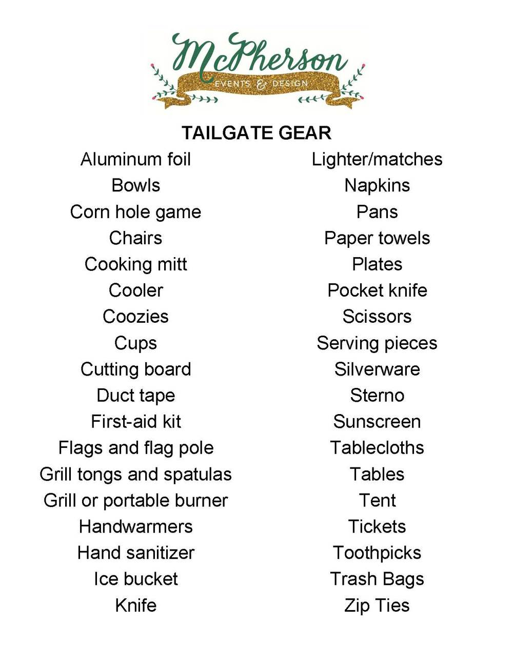 Tailgating Gear List | McPherson Events & Design | www.eventsbymcpherson.com