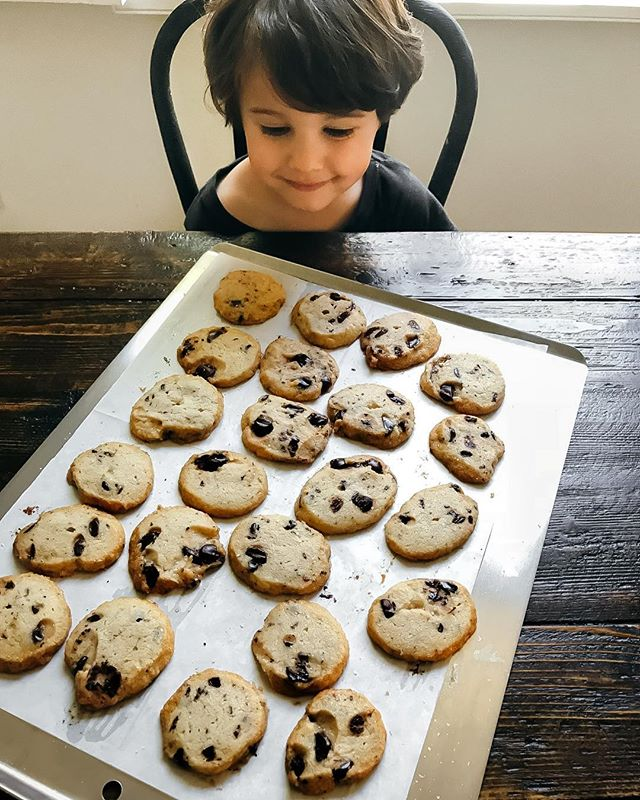 Apollo helped me make these buttery beauties! This recipe is a keeper. Chocolate chunk shortbread cookies by @alisoneroman #cookies #shortbread #baking