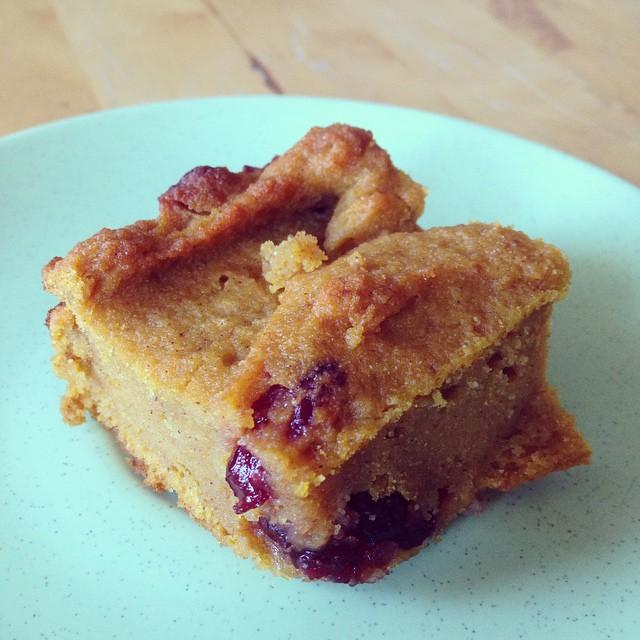 Gluten-free, sugar-free pumpkin cranberry squares