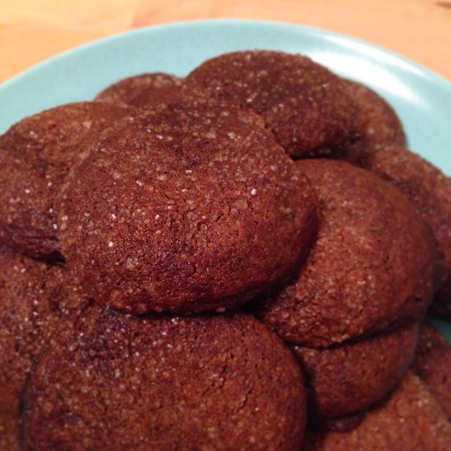 Soft gingersnap cookies made with coconut oil
