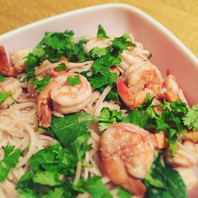 Raspberry Ginger Shrimp with Spinach and Cilantro over Rice Noodles