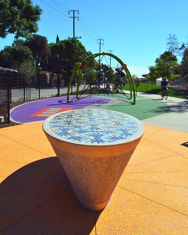 Have you been to Ricardo Lara Linear Park yet? We cut the ribbon on our colorful project  in #Lynwood in 2015! #tbt #engineering #parks #playgrounds