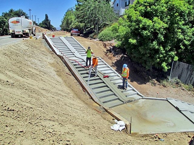 The Brea Tracks Segment 2 and 3 Project is coming along nicely. Take a look at these special stairs which allow cyclists to place their bike in the center track as they walk down the steps!Follow us to get continuing updates on this project and others like it! #onwardprojects #breatracks #cycliststairs