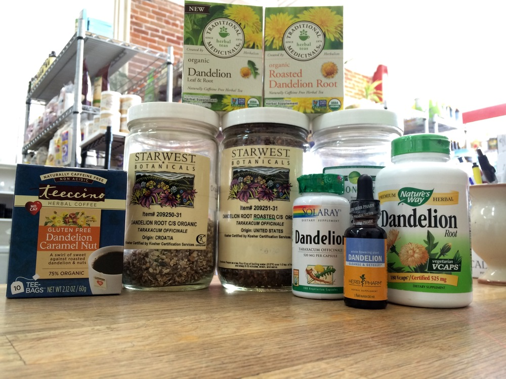 Dandelion Root Herbs and Supplements at Sunshine Market in Salida, Colorado.