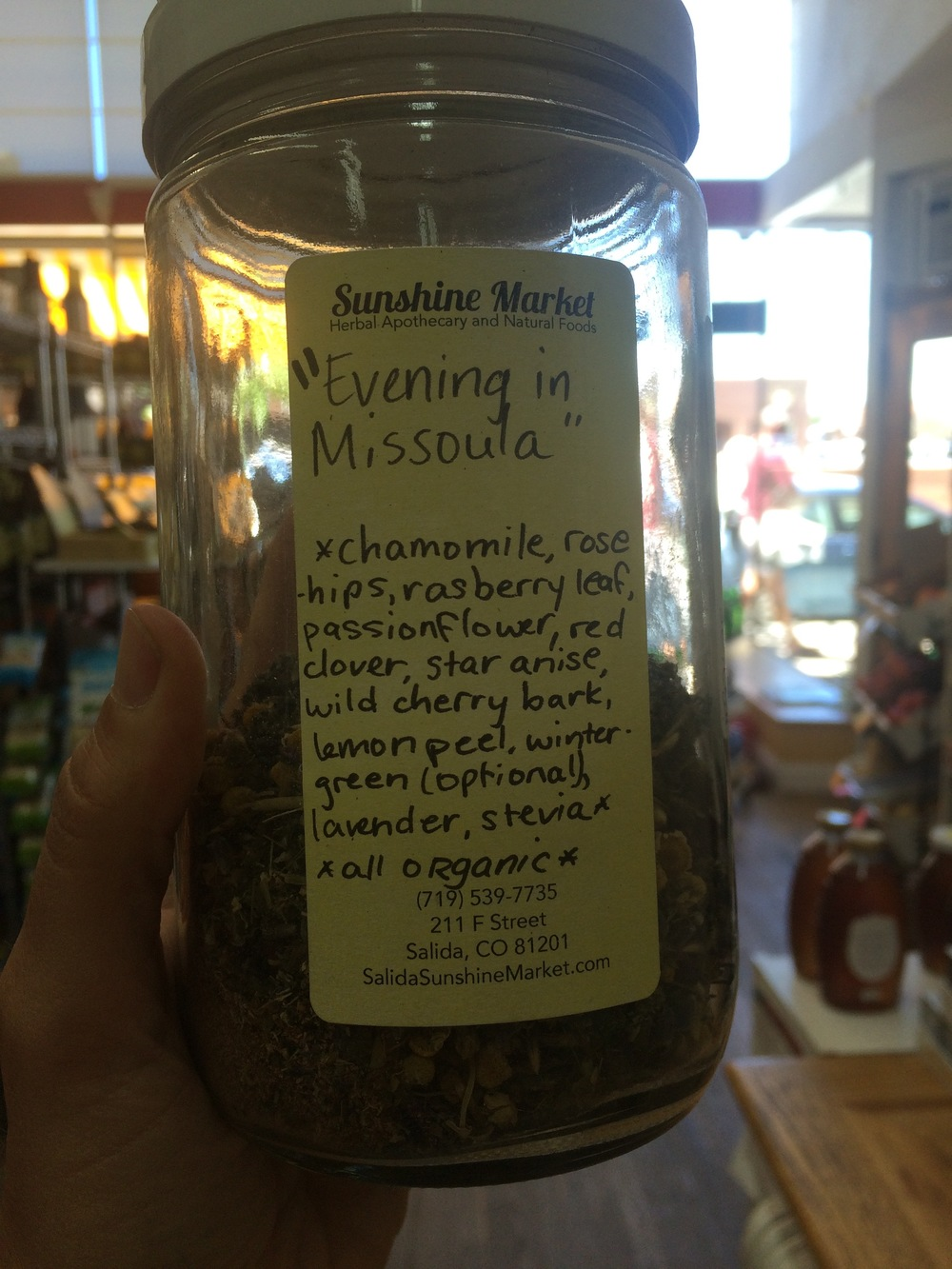 Bulk teas at Sunshine Market in Salida, Colorado.