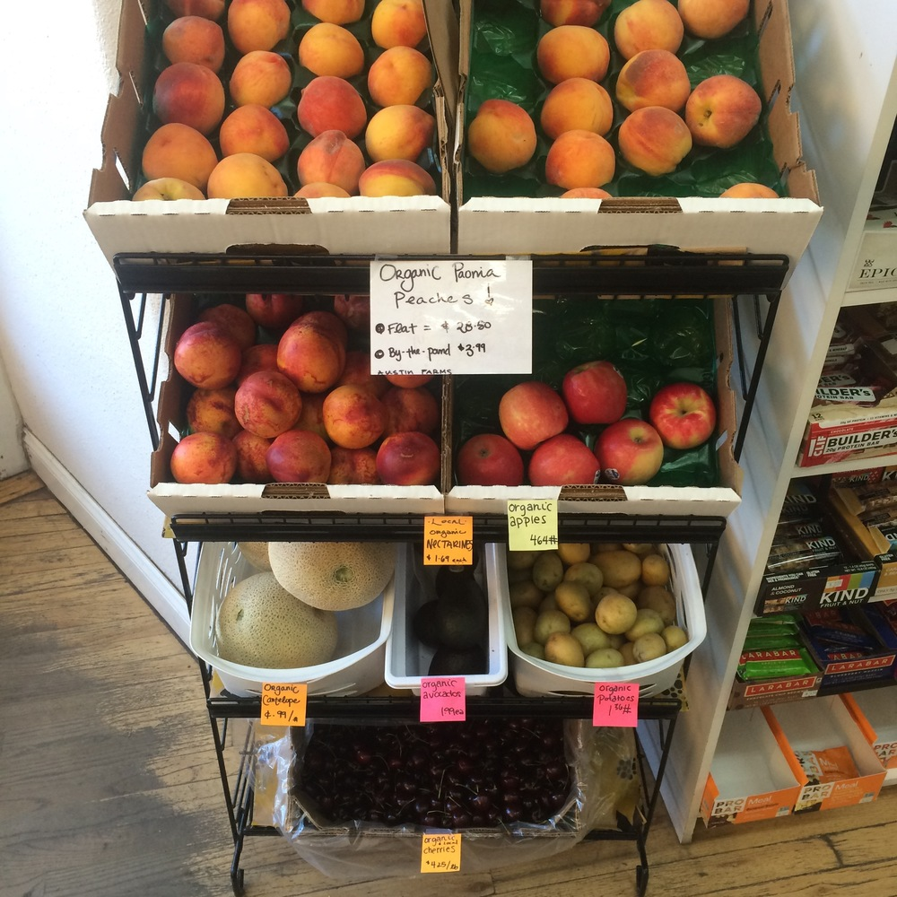 Summertime local fruits at Sunshine market in Salida, Colorado.