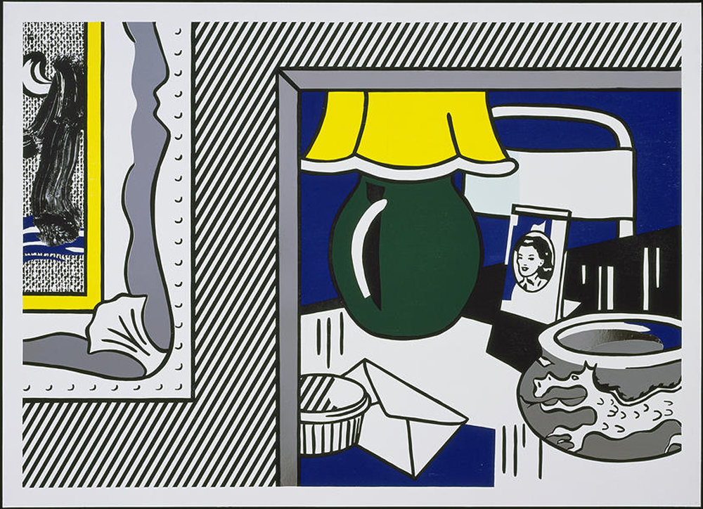 Roy Lichtenstein Two Paintings:  Green Lamp 1984 Woodcut, lithograph, screenprint, and collage on Arches 88 paper 38-11/16 x 53-1/16 inches Edition of 60