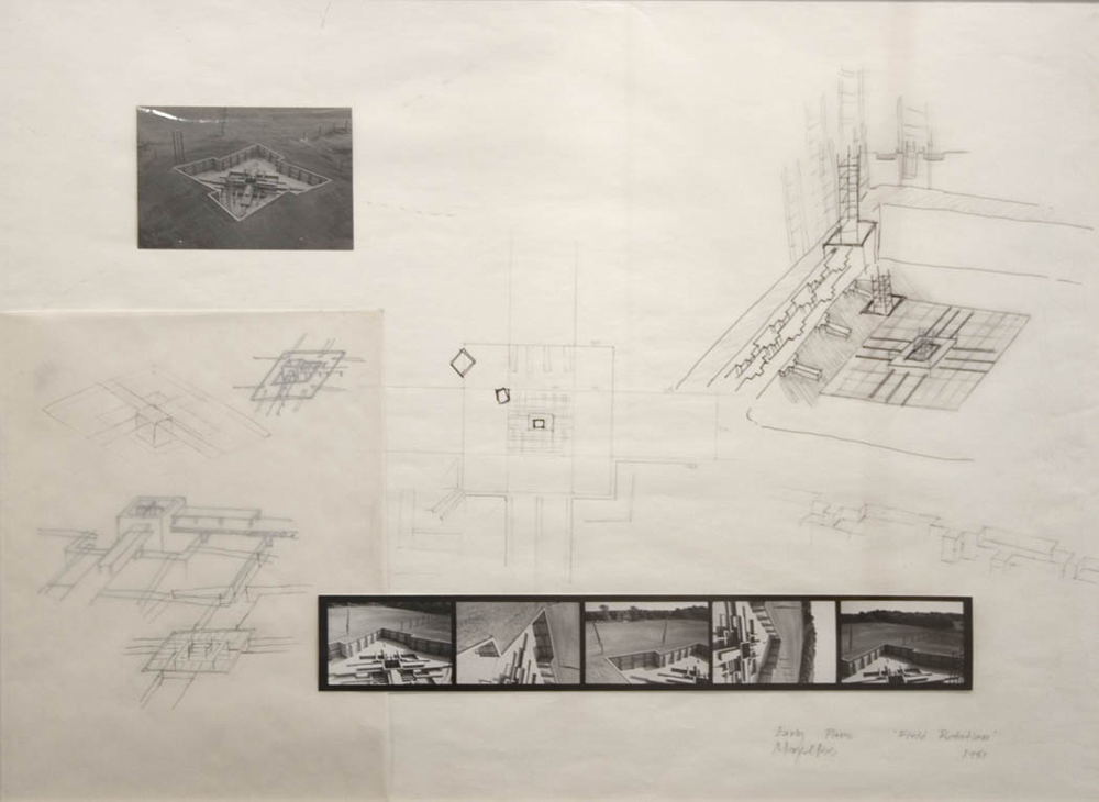 Mary Miss Early Plans for Field Rotation, Park Forest South, Illinois 1981 pencil, ink, photos, collage on paper 23 3/4 x 29 1/2 inches