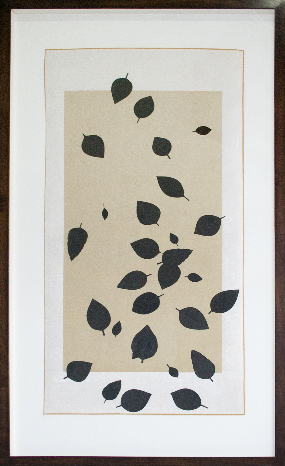 Bruce Conner (Anonymous) WIND BLOWN LEAVES 2001 ink and paper on cloth and paper scroll 34 1/4 x 17 1/2 inches