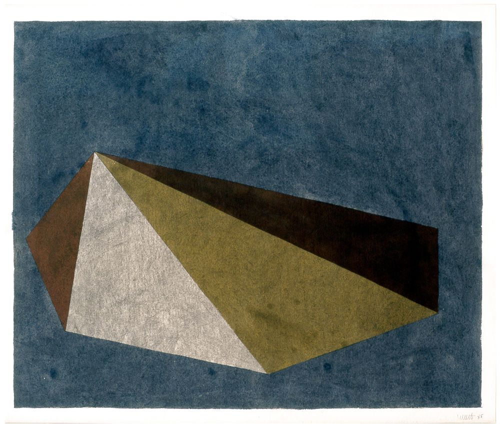 Sol LeWitt Untitled (Pyramid) 1985 gouache on paper 19 3/4 x 23 1/2 inches