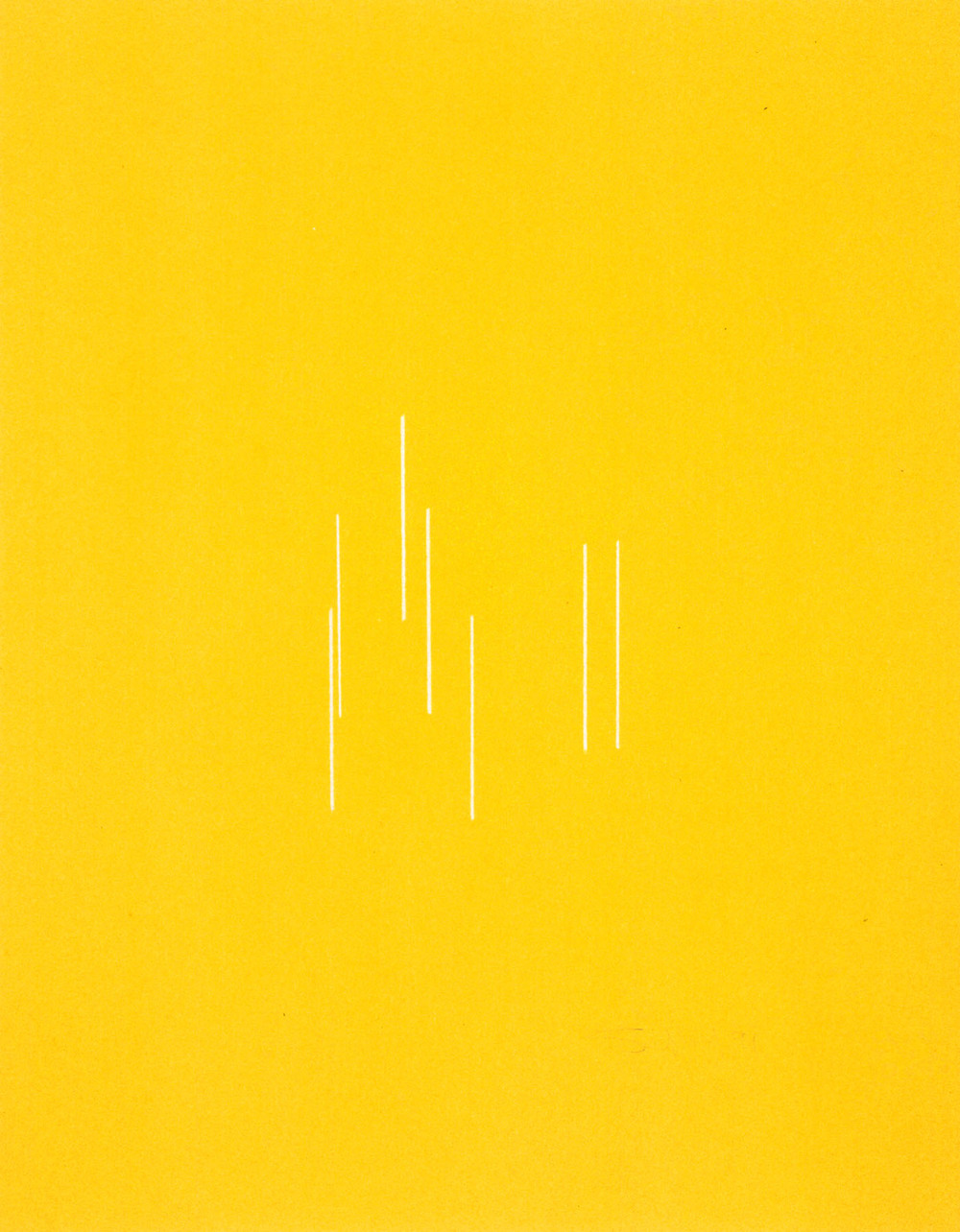 Fred Sandback Untitled 1991 colored pencil on yellow paper 11 x 8 1/2 inches