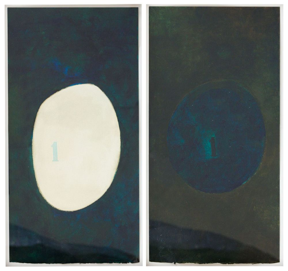 Mira Schendel Untitled (diptych) 1970 tempera on paper 18 x 9 1/4 inches each