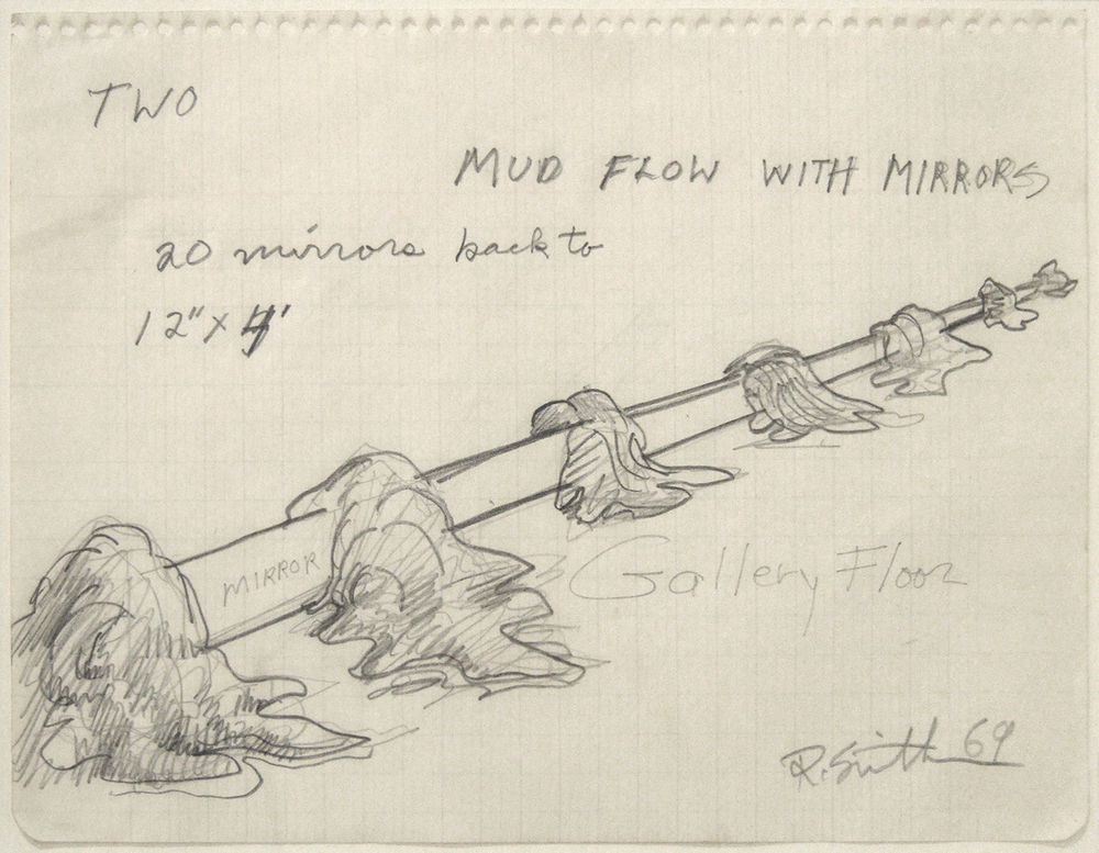Robert Smithson Mud Flow with Mirror 1969 pencil on paper 6 3/4 x 8 3/4 inches