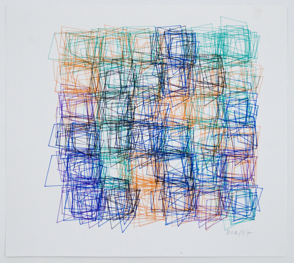 Vera Molnar  Structure de Quadrilatéres (Square Structures)  1987 computer graphic with Chinese water ink on paper 10 1/2 x 11 1/2 inches