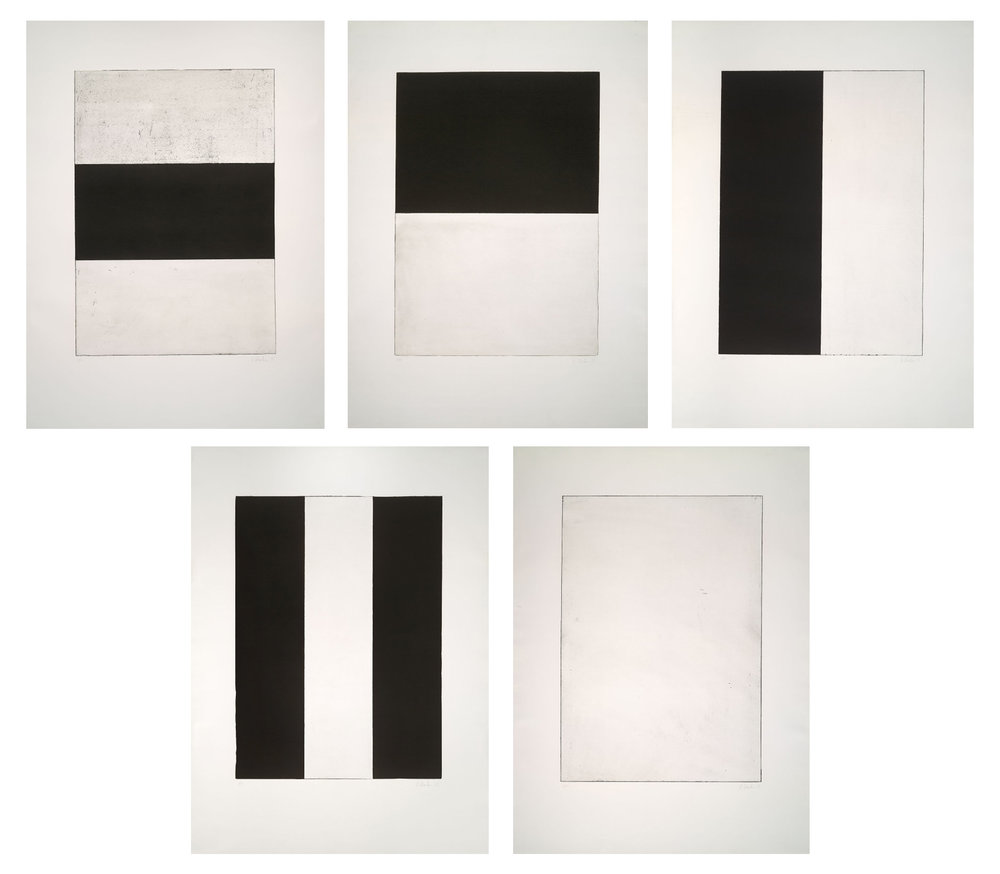 Brice Marden (American, b. 1938) Five Plates, 1973 set of 5 etchings with other media on Rives BFK paper 41 x 30 1/2 inches each (104.1 x 77.5 cm) Edition of 50
