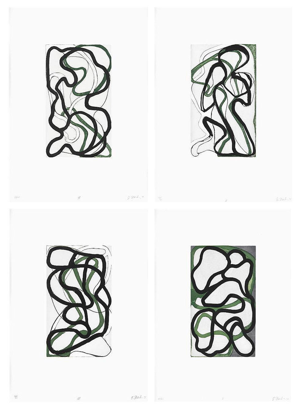 Brice Marden Suzhou I-IV, 1998 set of 4 etchings with other media on Somerset paper 25 5/8 x 18 3/4 inches each (37.5 x 22.2 cm) Edition of 45