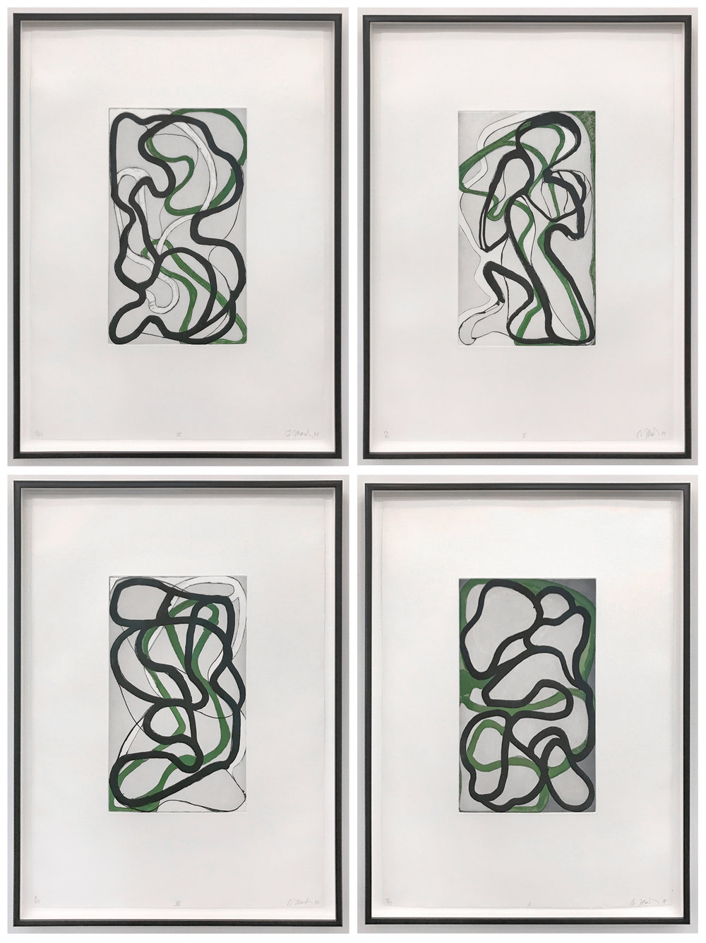 Brice Marden  Suzhou I-IV , 1998 set of 4 etchings with other media on Somerset paper 25 5/8 x 18 3/4 inches each (37.5 x 22.2 cm) Edition of 45