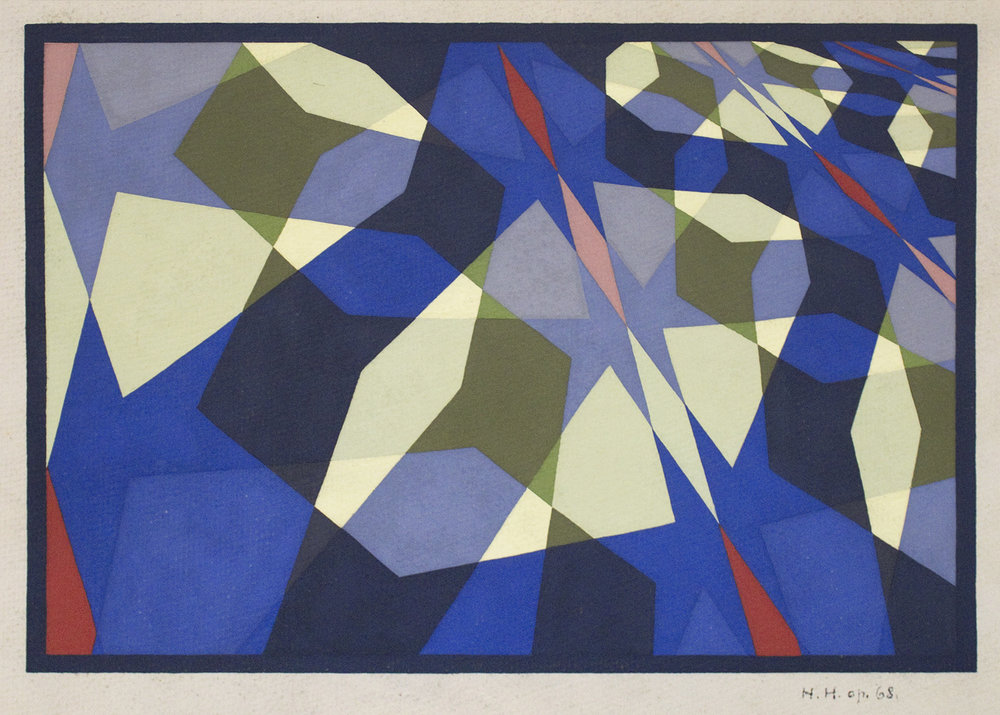Hans Hinterreiter (Swiss, 1902 - 1989)  Opus 68  1958 tempera on paper 9 1/2 x 13 1/4 inches (24.1 x 33.7 cm)