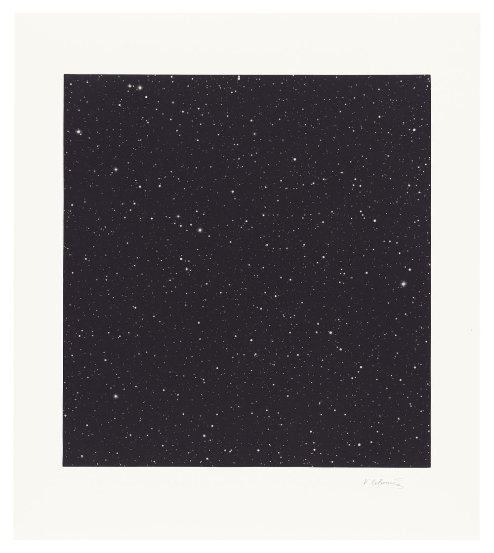 Vija Celmins (Latvian-born American, b. 1938)  Untitled (Dark Sky 1) , 2016 mezzotint on Hahnemuhle paper 22 1/2 x 19 inches (54.6 x 48.3 cm)