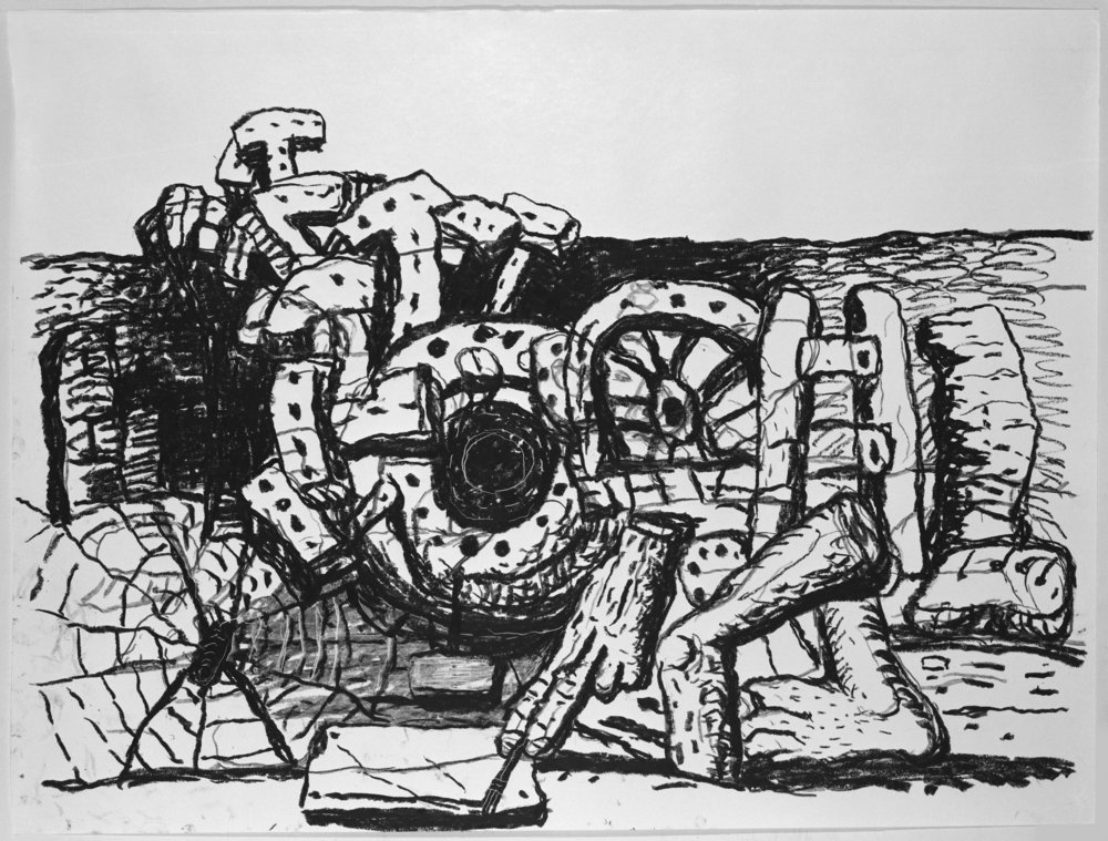 Philip Guston  (1913-1980)  Elements , 1980 lithograph on Arches 88 32 3/4 x 42 1/2 inches Edition 10 of 50, 11 AP's Signed and dated, lower middle; numbered, lower left; embossed with Gemini G.E.L. blind stamp lower right.