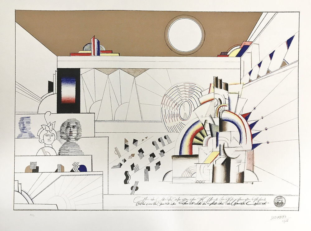 "Saul Steinberg  (American, 1914-1999)  Juke Box , 1968 Lithograph in colors on wove paper 22 x 30 inches Signed and dated, lower margin, ""HC"""