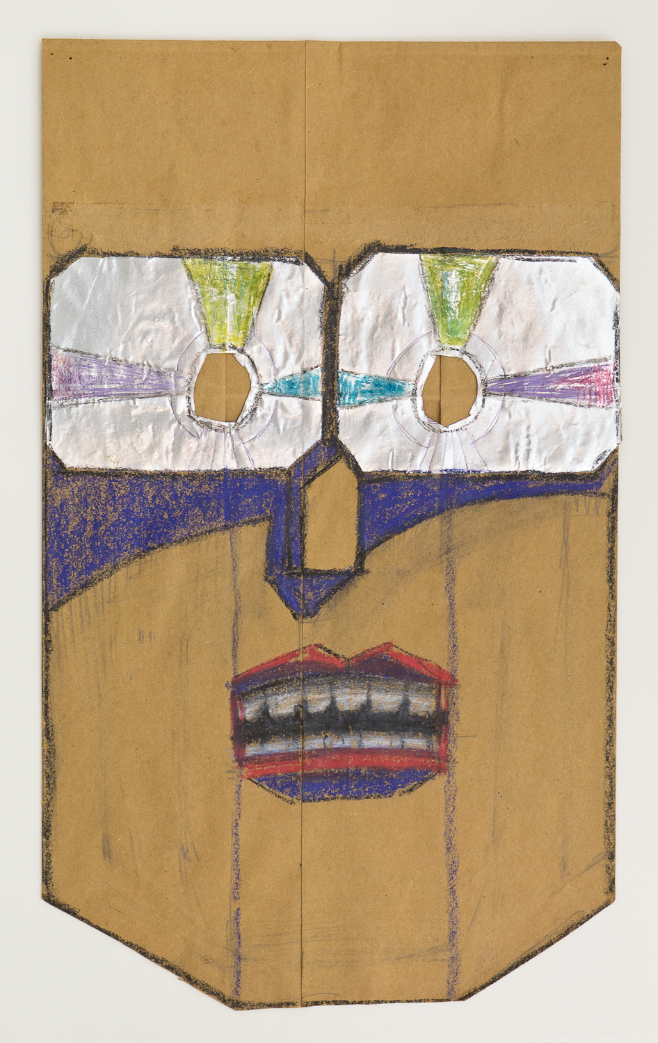Saul Steinberg  (American, 1914-1999)  Untitled , 1959-62 Crayon, colored pencil, and pencil with erasures, with incised foil collage on cut brown paper bag 14 x 8 3/8 x 5 inches