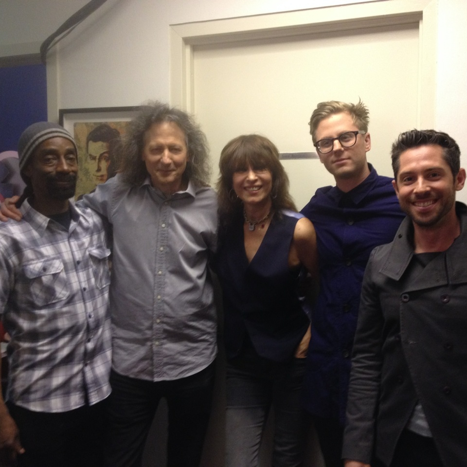 With Chrissie Hynde at The Colbert Report. L to R Leroy Clouden, Cliff Carter, Chrissie Hynde, Jared Scharff, Matt Rubano.