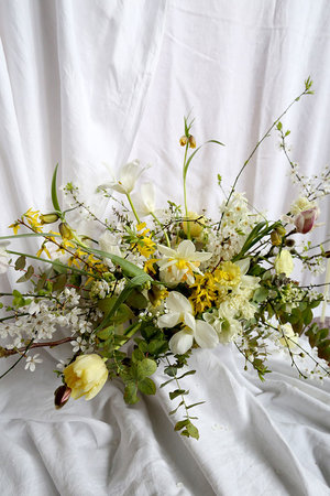 Vervain wedding floristry about flowers journal weddings yellow spring wedding flowers with blossom daffodils and tulips mightylinksfo