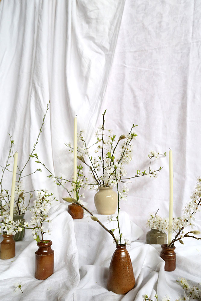 unusual spring flowers with blossom bottles