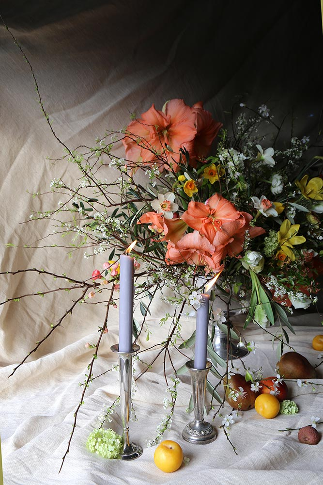 large scale spring wedding arrangement with fruit and blossom