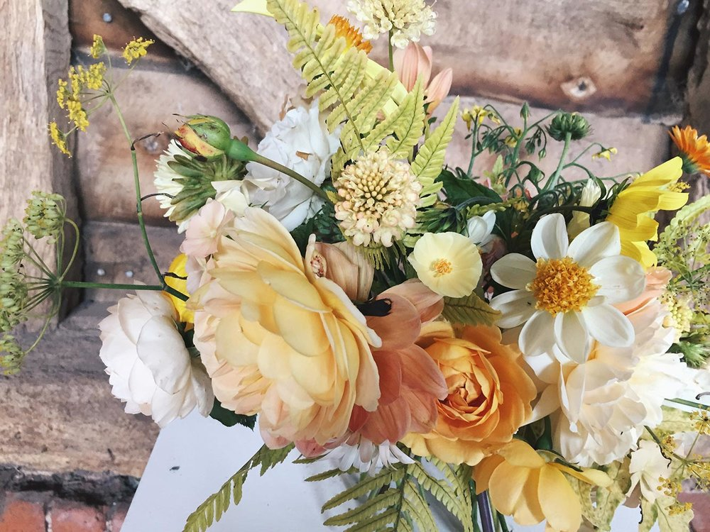 unique homegrown flower bridal bouquet with garden roses and dahlias