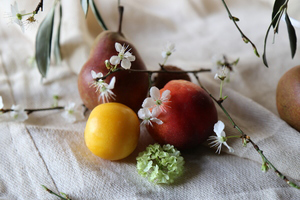 summer fruit with blossom