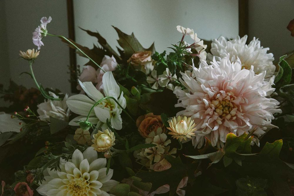 autumnal pale pink, brown and white wedding flowers, with dahlias and chrysanthemums