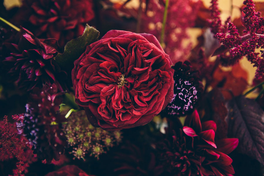 dark moody red wedding flowers