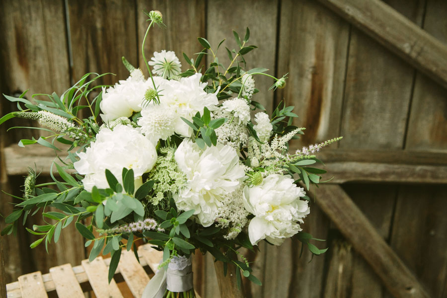 white bridal bouquet with summer flowers