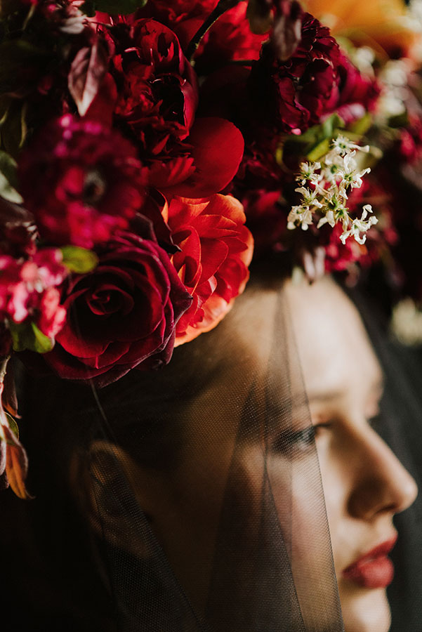 bridal flower crown with red flowers and spring blossom
