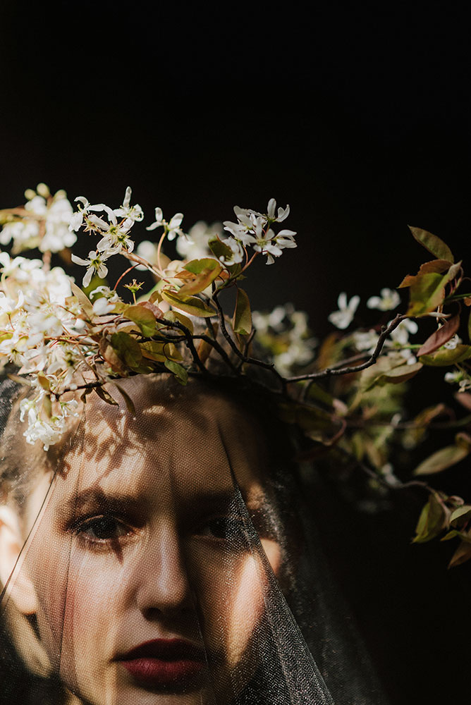 unususal spring flower crown with blossom