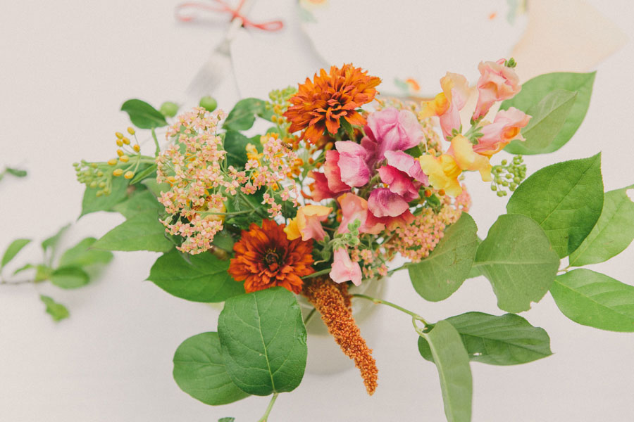 bright bold homegrown table centerpiece wedding flwoers