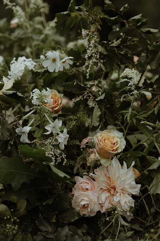 summer wedding flowers with dahlias and garden roses for a unique island wedding