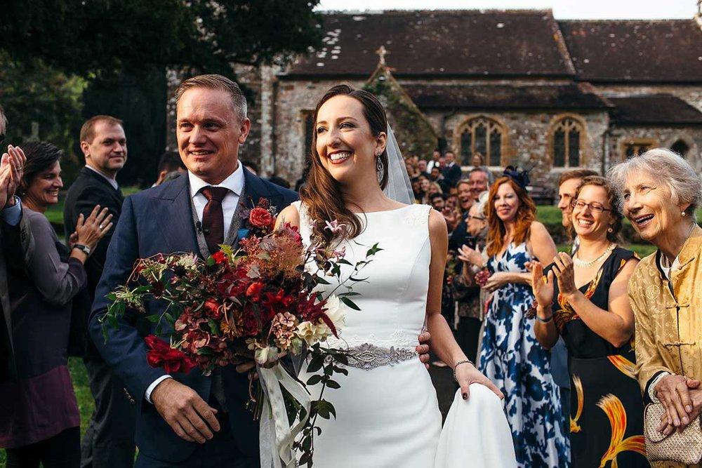unique bridal bouquet with wild flowers for a autumnal Devon wedding